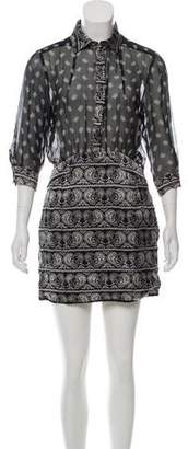 Pierre Balmain Silk Paisley Print Mini Dress