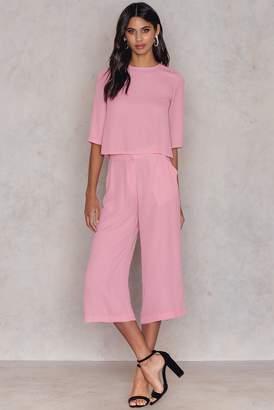NA-KD Na Kd Flared Culotte Pants Pink