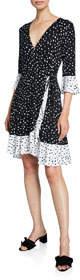 Polka-Dot Flounce Wrap Dress