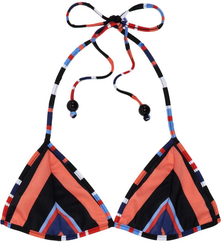 Milly Block Island Stripe triangle bikini top