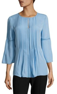 Elie Tahari Orion Pleated Silk Blouse $298 thestylecure.com