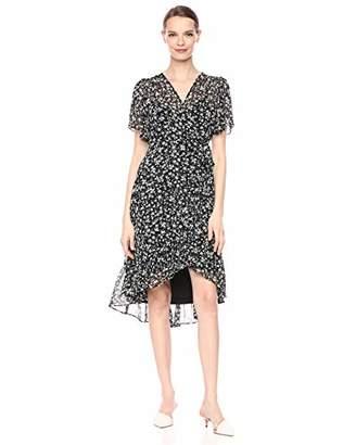 Calvin Klein Women's Flutter Sleeve A-Line Dress with Surplice Neckline