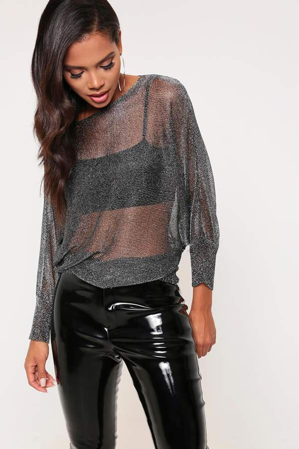 Isawitfirst Black/Silver Black/Silver Metallic Knitted Jumper
