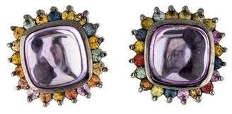 MCL by Matthew Campbell Laurenza Amethyst, Sapphire, & Enamel Earclip Earrings