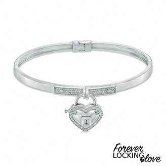Zales Forever Locking Lovea 1/6 CT. T.W. Diamond Heart-Shaped Lock Charm Bangle in Sterling Silver