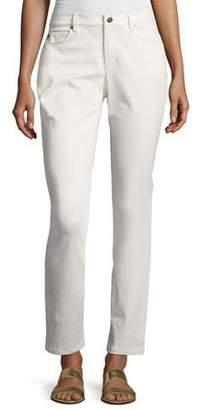 Eileen Fisher Sueded Organic-Stretch Sateen Jeans, Bone, Petite