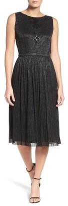 Women's Tahari Metallic Pleated Midi Dress $158 thestylecure.com