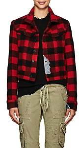 Greg Lauren Women's Checked Wool-Blend Trucker Jacket - Red, Blk