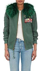 Mr & Mrs Italy Women's Fur-Collar Appliquéd Cotton Bomber Jacket - Peppermint Green, Alb. everglade