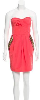 Matthew Williamson Embellished Strapless Mini Dress Coral Embellished Strapless Mini Dress