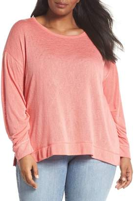 Caslon Tuck Sleeve Sweatshirt (Plus Size)