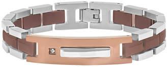 FINE JEWELRY Mens Diamond-Accent Stainless Steel Brown IP ID Bracelet