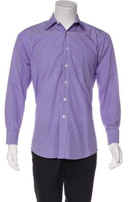 Barneys New York Barney's New York Patterned Spread Collar Dress Shirt