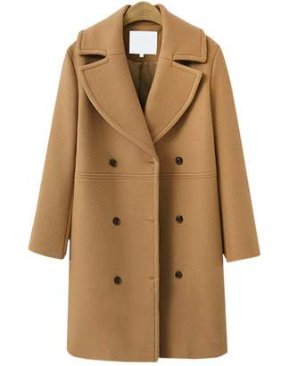 Blend of America Flygo Women's Long Jacket Notched Lapel Double Breasted Wool Blend Trench Coat