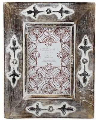 Azzure Home White Distress Flueur-De-Lis Design Wood Frame - 5x7