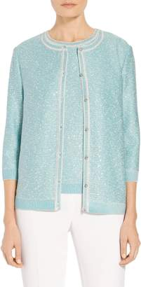 St. John Flecked Sparkle Knit Cardigan