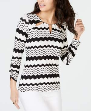 Thalia Sodi Embellished Neck Printed Top, Created for Macy's