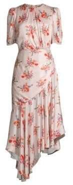 Bettina Floral Asymmetric A-Line Midi Dress