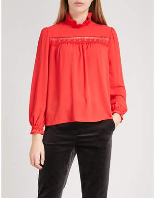Claudie Pierlot Ruffled stretch-crepe blouse