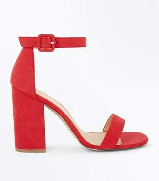 New Look Red Suedette Barely There Block Heels