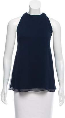 Alice + Olivia Leather-Trimmed Sleeveless Top