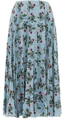 Valentino Rose And Lip Print Pleated Silk Skirt - Womens - Light Blue
