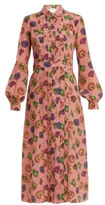 Stella Jean Graphic Print Pleat Front Silk Shirtdress - Womens - Pink Multi