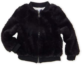 Splendid Toddler Girls) Black Faux Fur Bomber Jacket
