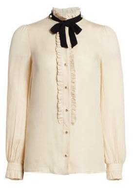 Gucci Silk Ruffle Tie Blouse