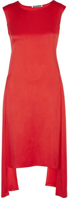 Jil Sander Satin drape-panel dress