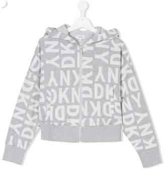 DKNY TEEN logo zip hoodie