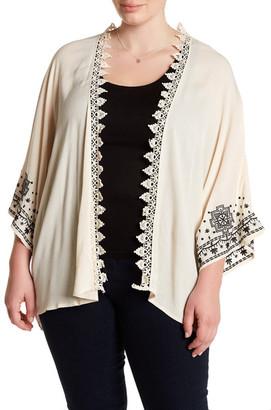 Stony Embroidered Sleeve Crochet Trim Kimono (Plus Size) $58 thestylecure.com