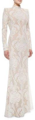 Alexander McQueen Long-Sleeve Swiss Dot Damask Lace Gown