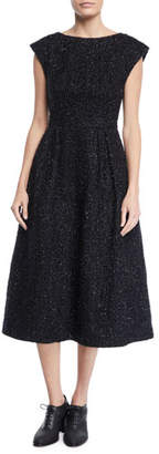 Co Boat-Neck Cap-Sleeve Fit-and-Flare Metallic-Tweed Dress
