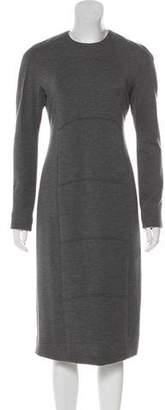 Ralph Rucci Wool Long Sleeve Midi Dress