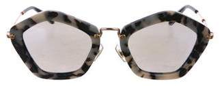 Miu Miu Mirror-Metallic Pentagonal Sunglasses