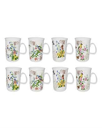 Fashion World Set of 8 Garden Bird Mugs