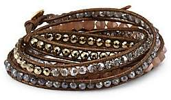 Chan Luu Women's Sterling Silver, Leather & Multi-Stone Wrap Bracelet