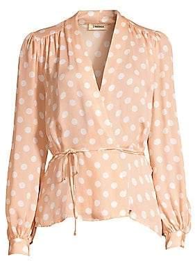 L'Agence Women's Cara Silk Polka Dot Wrap Blouse