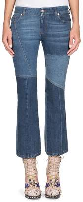 Alexander McQueen Women's Cropped Patchwork Denim Jeans