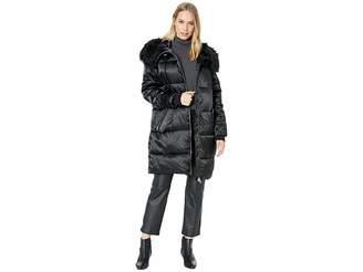Jessica Simpson Puffer w/ Faux Fur Hood Women's Coat