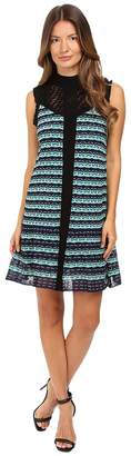 M Missoni Topstitch Knit Sleeveless Dress w/ Drop Waist Ruffle Women's Dress