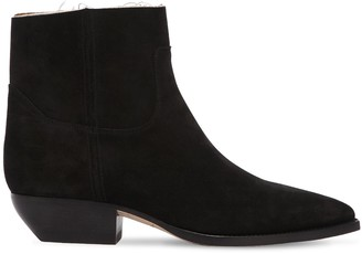 Saint Laurent 30mm Theo Raw Cut Suede Ankle Boots