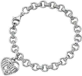 FINE JEWELRY Womens 1/8 CT.T.W. Diamond Sterling Silver Heart Charm Bracelet
