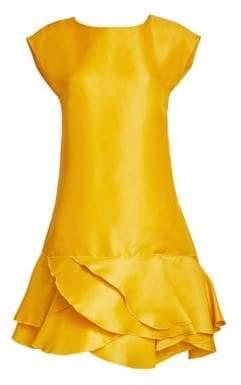 Oscar de la Renta Silk Cap-Sleeve Flounce Hem