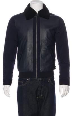 Vince Lambskin-Paneled Bomber Jacket