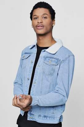 boohoo Borg Collar Pale Blue Denim Jacket