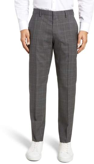 Genesis Flat Front Plaid Wool Trousers