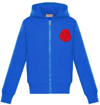 Moncler Zip-Up Hoodie w/ Contrast Logo, Size 4-6