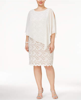 Connected Plus Size Overlay Lace Sheath Dress